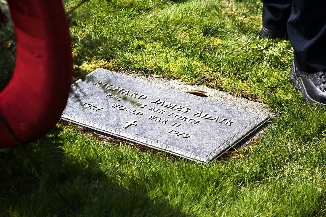 The grave site of Richard Adair, who was killed in action in 1979. (Photo by Tripp J Crouse/KTOO)